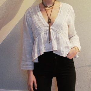 UO White Lacy Top